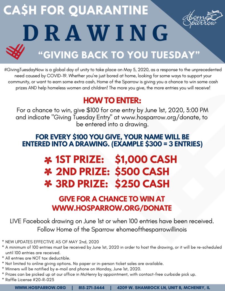 Giving Tuesday Cash for Quarantine Raffle @ Online
